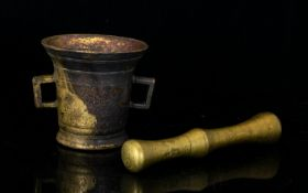 Antique Bronze Mortar And Pestle Cast Br