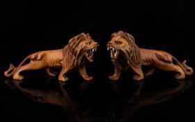 A Pair Of Antique Carved Matching Lions.