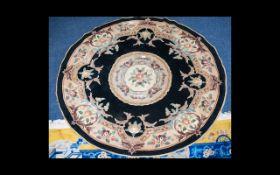 A Very Large Circular Oriental Rug Wool