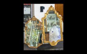 Two Yellow Gilt Frame Rococo Style Mirro