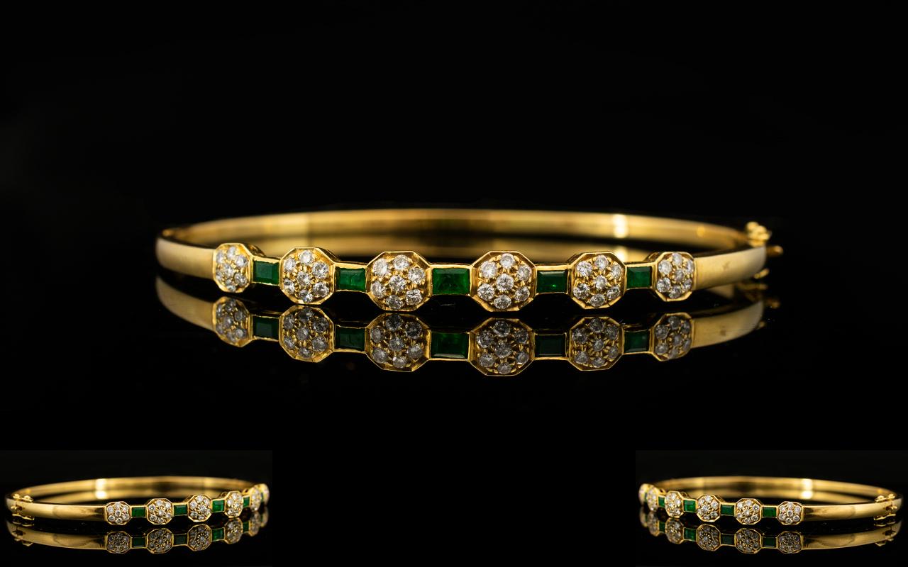 Lot 29 - 18ct Gold - Attractive Emerald and Diamo