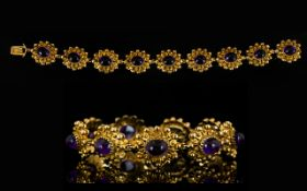 9ct Gold And Amethyst Fancy Link Bracele