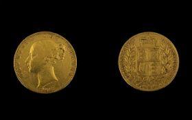 Victorian 1847 Shield Back Gold Sovereig