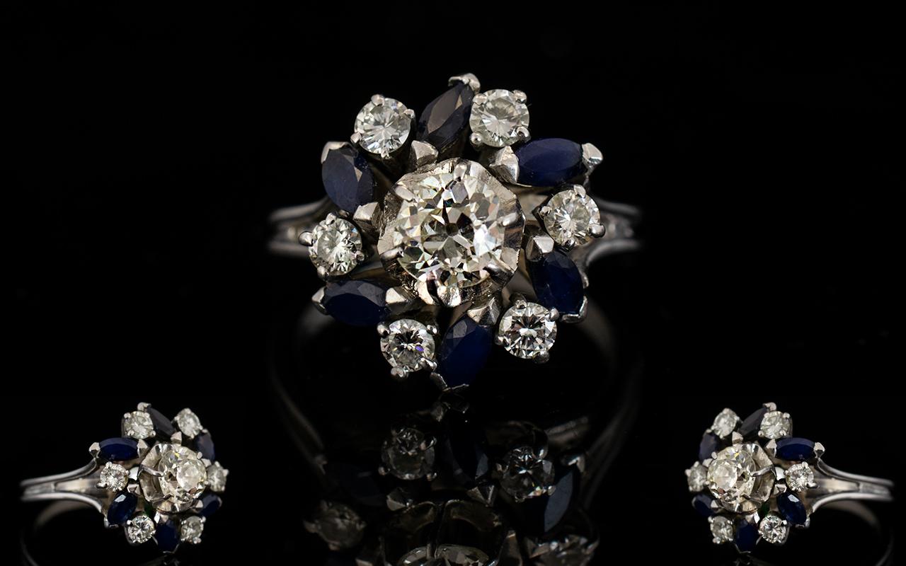 Lot 42 - 18ct White Gold Diamond And Sapphire Clu