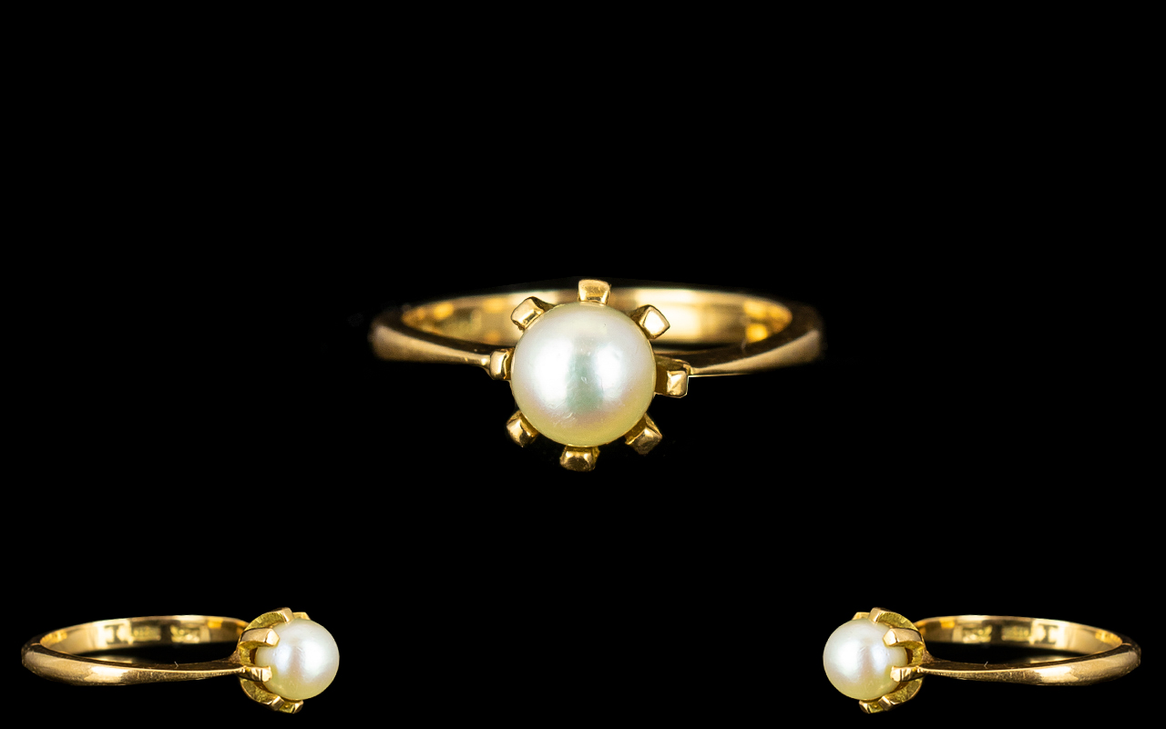 Lot 93A - 18ct Yellow gold Single Pearl Set Ladies