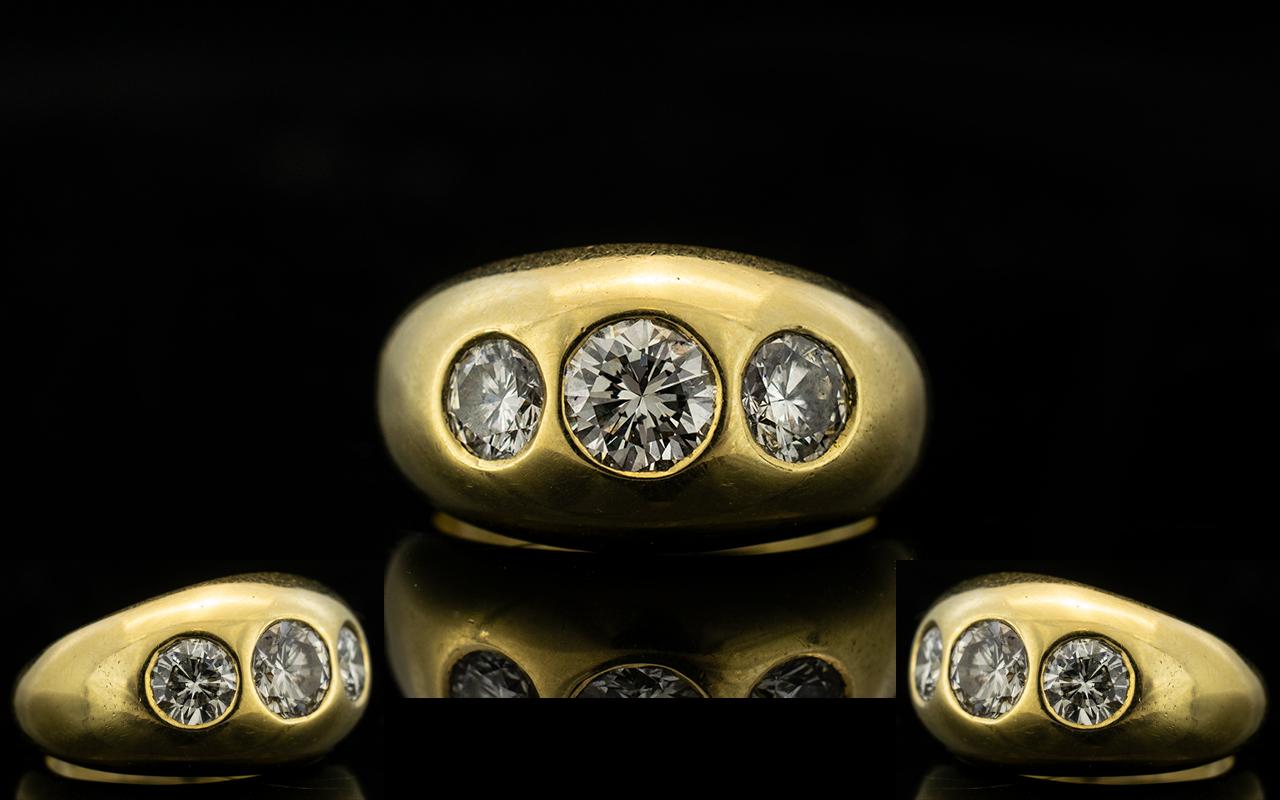 Lot 74 - 18ct Yellow Gold Gentleman's 3 Stone Dia