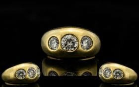 18ct Yellow Gold Gentleman's 3 Stone Dia