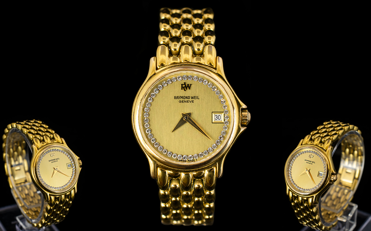 Lot 88 - Raymond Weil Ladies Gold Plated Date-Dis