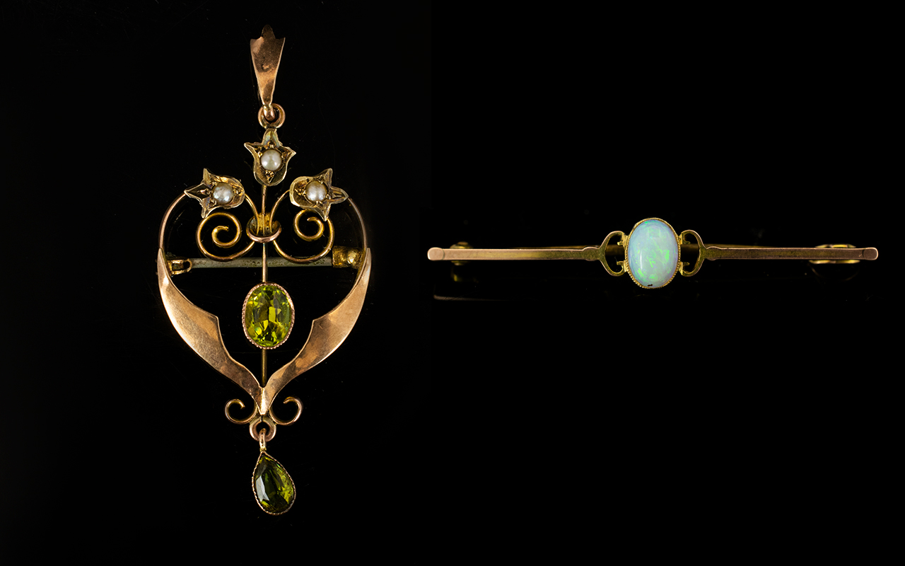 Lot 95A - A 9ct Gold And Opal Set Bar Brooch And 9