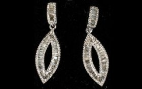 Diamond Marquise Shape Drop Earrings, op