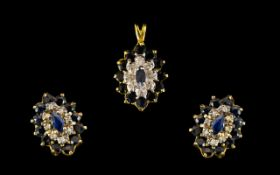 9ct Gold And Gemset Pendant And Earrings