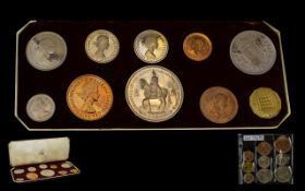 A 1953 Royal Mint Proof Coin Set Comprising 10 coins in fitted red case. Together with a blister