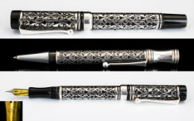 Laban Superb Quality Solid Silver Cased Fountain Pen Set - comprising fountain pen and matching