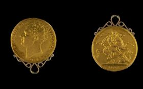 1823 George IV Gold Double Sovereign Two Pound Piece Dated 1823, with applied scroll.