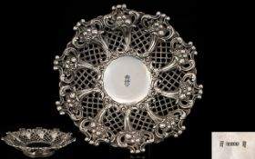 Spanish Colonial Fine Quality 19th Century Silver Footed Bowl with Wonderful Open-worked