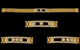 Rolex Style Design Wonderful Quality 18ct Gold And Diamond Set Kinetic Bracelet Contemporary yellow