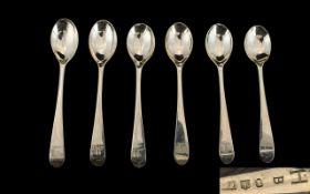 Scottish George III Set of Six Silver Teaspoons hallmark Edinburgh 1802-1812.