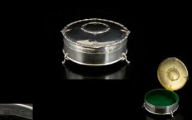 Edwardian Period Superb Quality Silver Lidded Circular Ornate Ladies Ring Box with Velvet Interior.