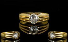 18ct Yellow Gold Single Stone Diamond Ring In A Gypsy Style Setting A very pleasing ring,