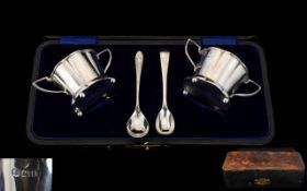 Edwardian Period - Nice Quality Boxed Set of Silver Twin Handle Salts and Spoons of Pleasing Form.