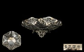 Elizabeth II Nice Quality Ornate Open Worked Footed Dish/Bowl of pleasing proportions raised on