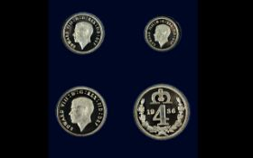 King Edward VIII 1936 Silver Proof Struck 4 Coin Maundy Set, All In Mint Uncirculated Condition,