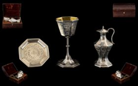 Early Victorian - Superb Quality Sterling Silver 3 Piece Travelling Communion Set In Original