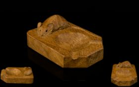 'Mouseman' Oak Ashtray By Robert Thompson Of Kilburn Of rectangular form with carved mouse