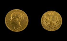 Queen Victoria 22ct Gold Young Head/Shield Back Full Sovereign - date 1845.
