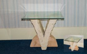 A Modern Continental Occasional Table Bevelled glass table with brick and marble effect V-Form