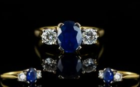 18ct Gold Attractive Three Stone Sapphire And Diamond Ring Sapphire estimated 2.