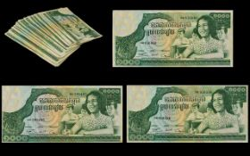 Cambodia - 1000 Mille Riels ( Large ) Banknotes ( 87 ) In Total. All In Uncirculated / Mint