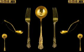 Mappin & Webb Superb Quality Large Silver Gilt Ladle with matching pair of large serving forks.