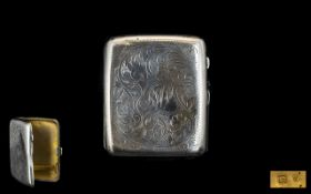 Ladies 1920's - Small Silver Cigarette Case with Chased Stylised Leaf Decoration to Both Sides of