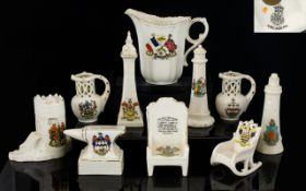 A Good Collection of Crested Ware Pieces, Some Large Pieces ( 10 ) Pieces in total. Some Interesting