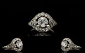 Art Deco Period - Superb Platinum Diamond Set Dress Ring of Attractive Design.
