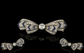Art Deco Period - Superb 18ct White Gold Diamond And Sapphire Set Brooch,