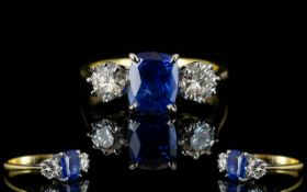18ct Gold Superb Quality Three Stone Sapphire And Diamond Set Dress Ring Fully hallmarked for 18ct,
