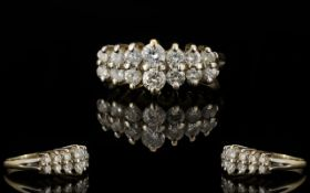 14ct White Gold - Attractive Diamond Set Dress Ring,