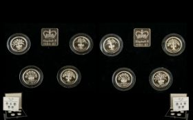 Royal Mint 1984 - 1987 United Kingdom One Pound Silver Proof Struck Piedfort 4 Coin Collections ( 2