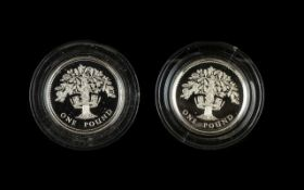 Two Royal Mint Silver Proof One Pound Coins Comprising 1987 silver proof piedfort coin.