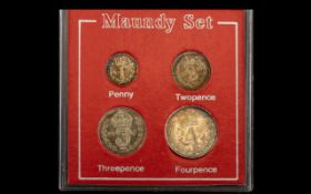 King Edward VII 1902 Silver Proof Struck 4 Coin Maundy Set, Penny, Two Pence,