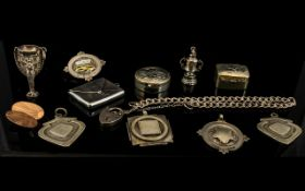 A Small Collection Of Silver Items To include a 1966 world cup charm - stamped England 1966,