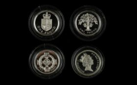 Four Royal Mint Silver Proof One Pound Coins Comprising 1986 and 1987 silver proof piedfort coins.
