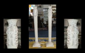 A Pair Of Composite Marble Effect Standard Lamps Each in the form of Arcadian columns with moulded