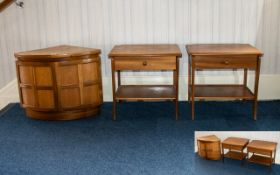 Nathan 1970's Teak Corner Unit Low unit with panelled door detail, height 20 inches, 18 x 18 inches.