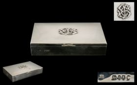 Victorian Period Superb Quality - Solid Silver Rectangular Shaped Hinged Box with Gilt Interior of