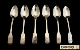 William IV Set of Six Silver Fiddleback Teaspoons of solid construction.