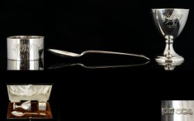 Walker And Hall Solid Silver Three Piece Christening Set Comprising napkin holder, spoon and cup.