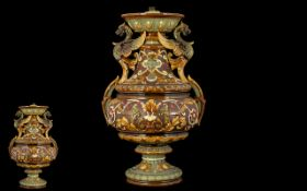 Wilhelm Schiller & Son Bohemia Twin Handle Majolica Vase - Later converted to a lamp base,
